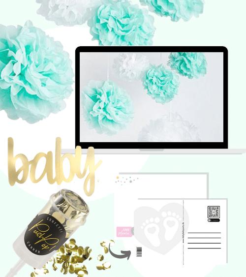 Virtuelle Babyparty Set mit Pom Poms - mint - 8-teilig