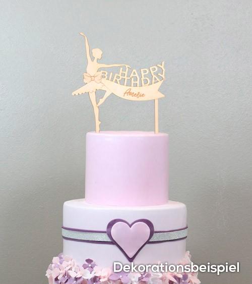 """Dein Cake-Topper """"Ballerina"""" aus Holz - Wunschtext"""