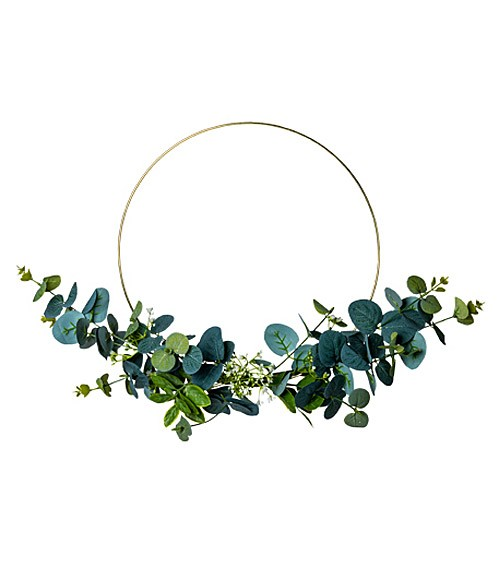 Goldener Metall-Ring mit Eukalyptuszweigen - 30 cm