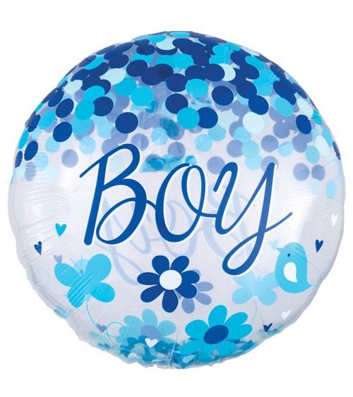 "Jumbo-Folienballon mit Konfetti ""Boy"" - 71 cm"