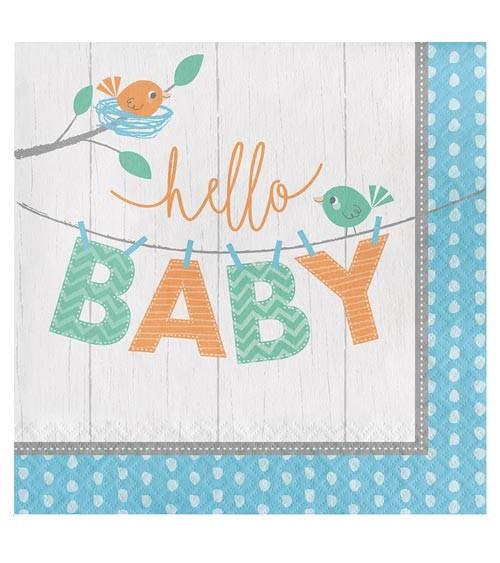 """Servietten """"Hello Baby - blau"""" - 16 Stück"""
