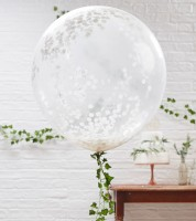 Transparente Riesenballons mit weißem Konfetti - 3 Stück