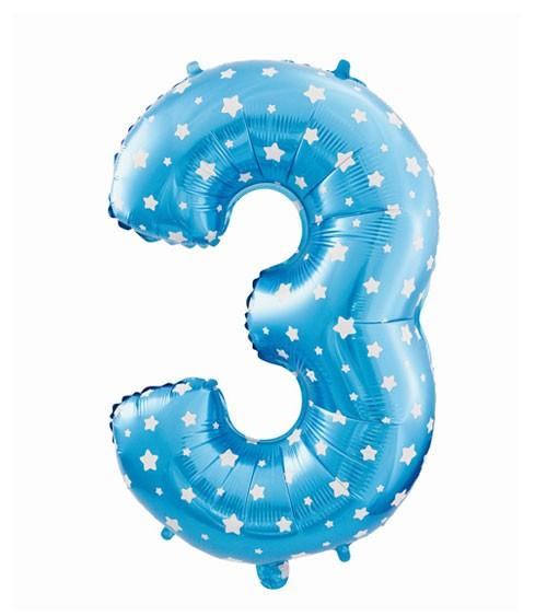 "Folienballon Zahl ""3"" - blau mit Sternen - 61 cm"