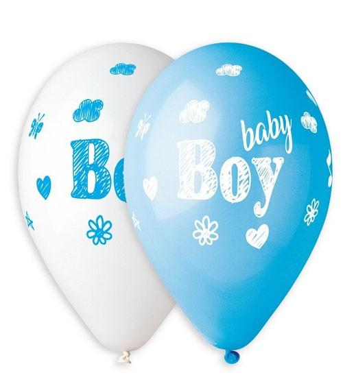"Luftballon-Set ""Baby Boy"" - hellblau & weiß - 5 Stück"