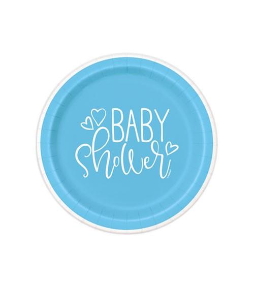 """Kleine Pappteller """"Baby Shower - blau"""" - 8 Stück"""