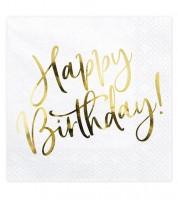 """Servietten """"Happy Birthday!"""" - weiß/metallic gold - 20 Stück"""