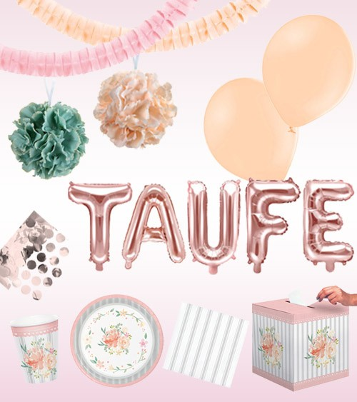 "Taufe Deko-Set ""Floral Dream"" - 53-teilig"