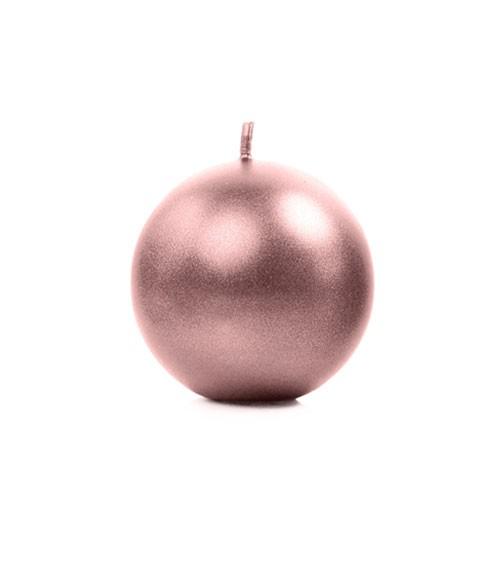 Kugelkerzen - metallic rosegold - 6 cm - 10 Stück