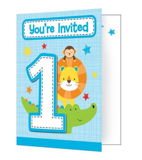 """Einladungskarten """"One is Fun - Boy"""" - 8 Stück"""