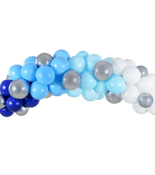 DIY Ballongirlande - blau, silber & weiß - 60-teilig
