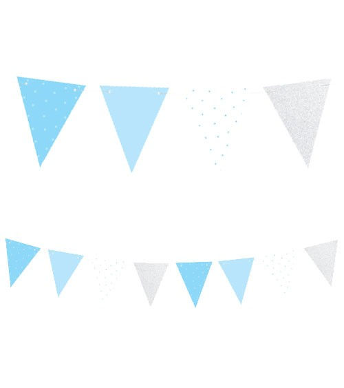 DIY-Wimpelgirlande aus Papier - hellblau/silber - 1,3 m