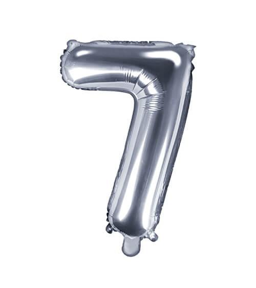 """Folienballon Zahl """"7"""" - silber - 35 cm"""