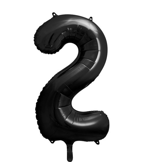 "SuperShape Folienballon ""2"" - schwarz - 86 cm"
