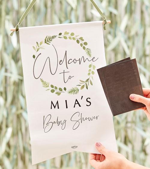 Baby Shower Wilkommens-Wimpel mit Stickern - 28 x 40 cm