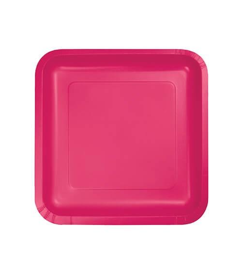 Kleine eckige Pappteller - hot magenta - 18 Stück