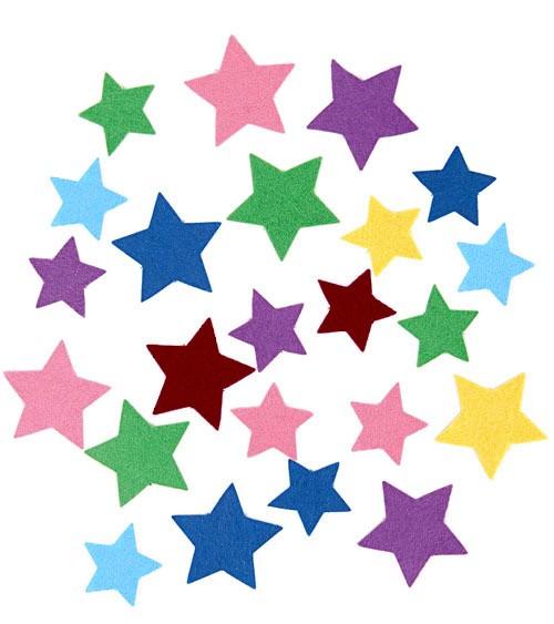 Sterne aus Filz - selbstklebend - 1,5 - 4 cm - ca. 80 Stück