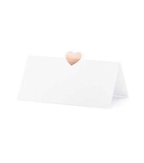 Platzkarten mit rosegoldenem Herz - 10 Stück
