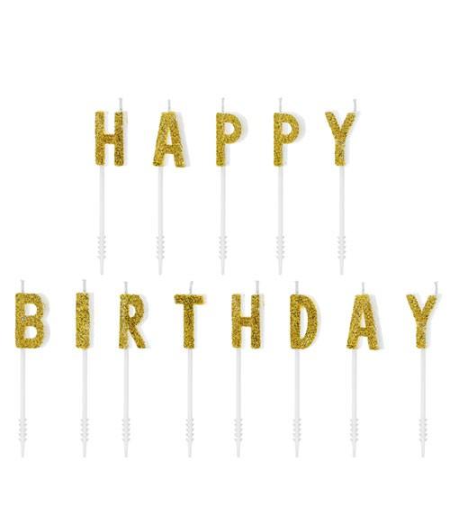 """Kuchenkerzen """"Happy Birthday"""" - glitter gold - 13-teilig"""