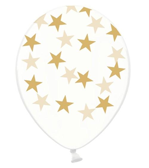 "Luftballons ""Goldene Sterne"" - transparent - 6 Stück"