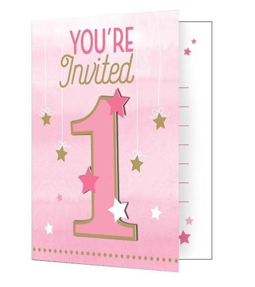 "Einladungskarten ""One Little Star - Girl"" - 8 Stück"