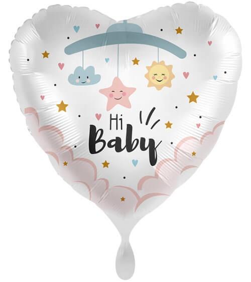 """Großer Herz-Folienballon """"Hi Baby"""" - 71 cm"""