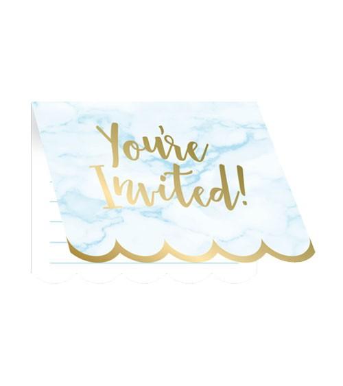 """Einladungskarten """"Marble"""" - hellblau & gold - 8 Stück"""