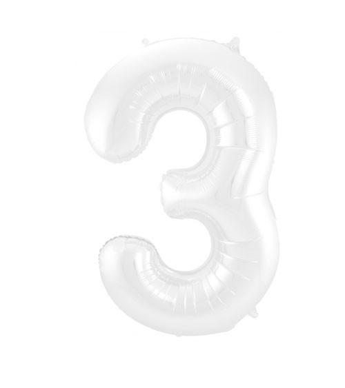 """Zahl-Folienballon """"3"""" - matt weiß - 86 cm"""