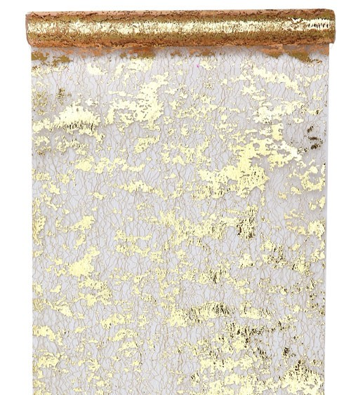 Tischläufer in Metallic-Netzoptik - gold - 28 cm x 5 m