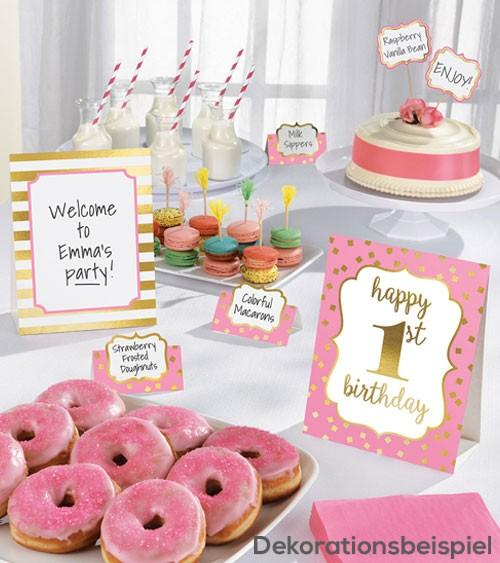 "Buffet-Deko-Kit ""1st Birthday"" - rosa/gold - 12-teilig"