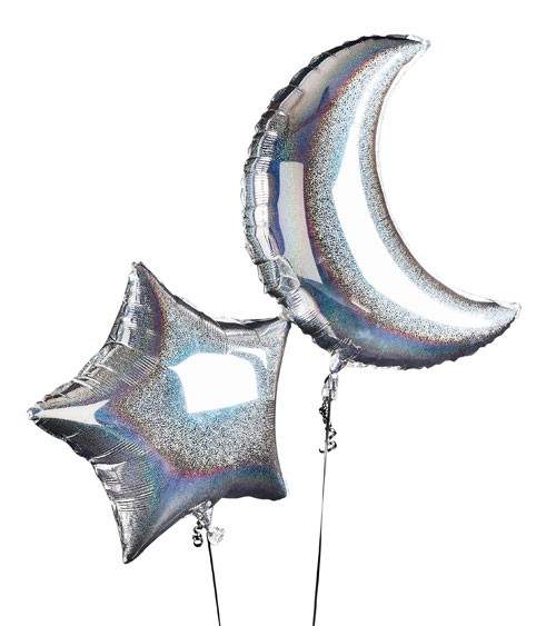 "SuperShape-Folienballon-Set ""Mond & Stern"" - holographic - 2-teilig"