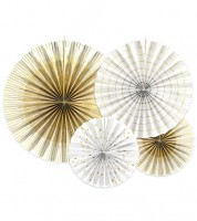 Papierfächer-Set - weiß/gold - 4-teilig