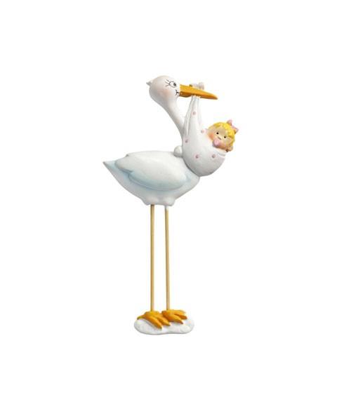 Storch mit Baby Girl - 2D - 10 cm