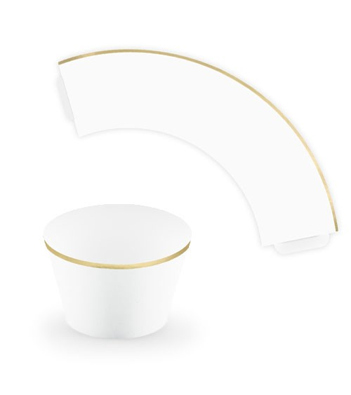 Cupcake-Wrapper mit goldenem Rand - weiß - 6 Stück