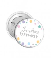 "Dein Button ""Babyparty"" - Punkte Pastell"