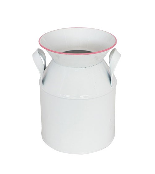 Deko-Milchkanne aus Metall - weiß, rosa - 13 x 17,5 cm