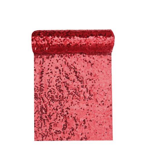 Tischband mit Pailletten - rot - 19 cm x 3 m