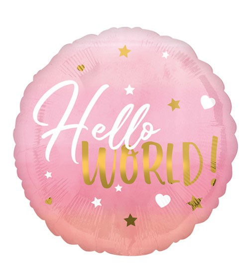 "Runder Folienballon ""Hello World!"" - rosa & gold - 43 cm"