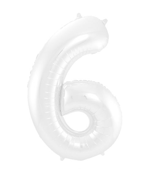 """Zahl-Folienballon """"6"""" - matt weiß - 86 cm"""