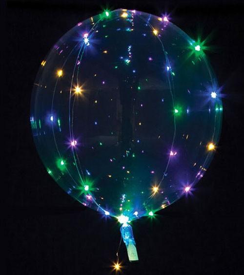 Leuchtender Kugelballon mit LED - bunt - 45 cm