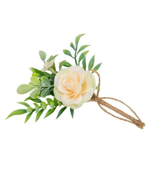 Künstliche Rose mit Grün und Juteschnur - blush - 15 cm