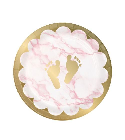 """Kleine Pappteller """"Marble"""" - Babyfüßchen - rosa - 8 Stück"""