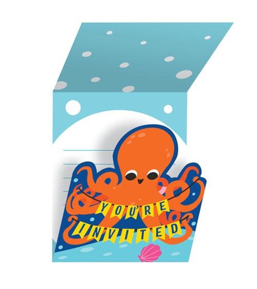 """Einladungskarten """"Bunte Meerestiere"""" - 8 Stück"""