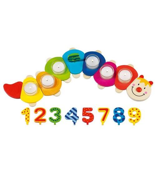 Geburtstagsraupe mit austauschbaren Zahlen - 24-teilig
