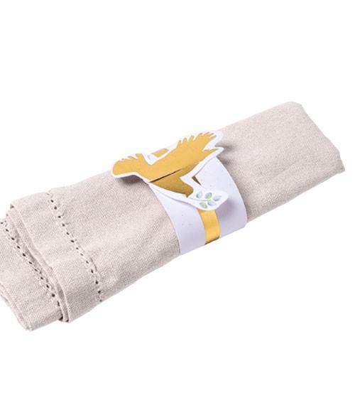 Serviettenringe aus Papier mit goldener Taube - 10 Stück