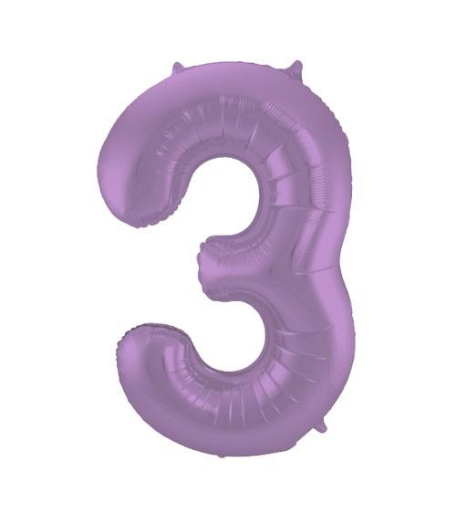 """Zahl-Folienballon """"3"""" - matt lila - 86 cm"""