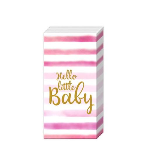 "Papiertaschentücher ""Hello little Baby"" - rosa - 10 Stück"