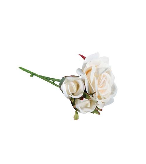 Künstliche Rose mit 3 Blüten - weiß - 15 cm