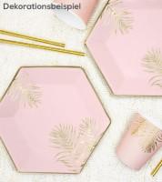 Pappteller mit goldenen Palmblättern - rosa - 6 Stück