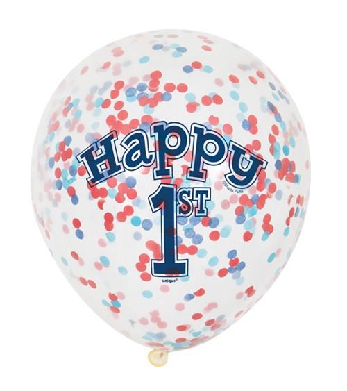 "Konfetti-Ballons ""Erster Geburtstag"" - blau/rot - 6 Stück"