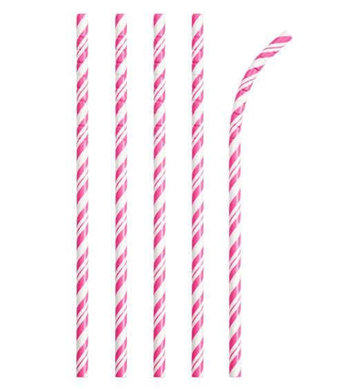 Flexible Papierstrohhalme mit Streifen - pink - 24 Stück
